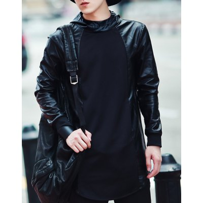 Slimming Hooded Long Sleeve Lengthen Mens PU-Leather Splicing HoodiedMens Hoodies &amp; Sweatshirts<br>Slimming Hooded Long Sleeve Lengthen Mens PU-Leather Splicing Hoodied<br><br>Material: Cotton, Polyester<br>Clothing Length: Long<br>Sleeve Length: Full<br>Style: Fashion<br>Weight: 0.507KG<br>Package Contents: 1 x Hoodied
