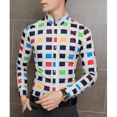 Stylish Colorized Plaid Print Color Block Slimming Long Sleeves Mens Button-Down ShirtMens Shirts<br>Stylish Colorized Plaid Print Color Block Slimming Long Sleeves Mens Button-Down Shirt<br><br>Shirts Type: Casual Shirts<br>Material: Cotton, Polyester<br>Sleeve Length: Full<br>Collar: Turn-down Collar<br>Weight: 0.250KG<br>Package Contents: 1 x Shirt