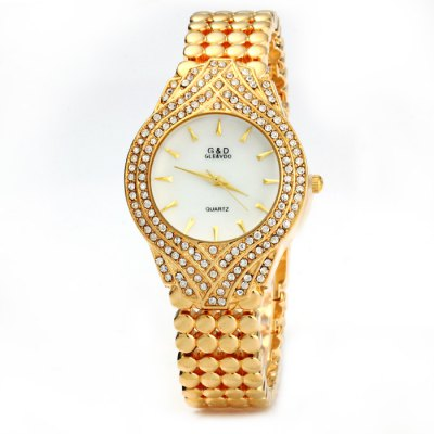 ФОТО GND Diamond Female Quartz Watch with Stainless Steel Band