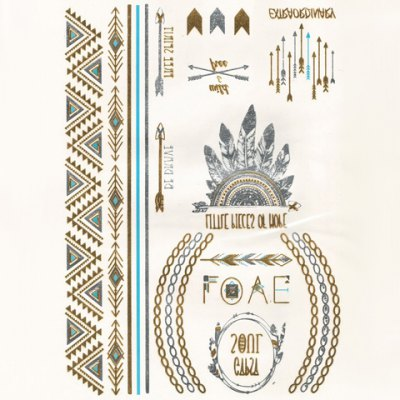 Tribal Headwear and Arrow Pattern Gilding Tattoo Sticker For Men and Women