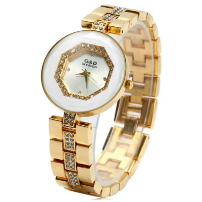 GND Stainless Steel Band Female Diamond Quartz Watch