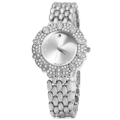 ФОТО GND Diamond Women Quartz Chain Watch with Rice Grains Stainless Steel Band