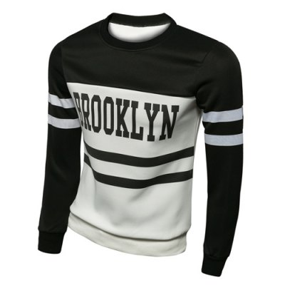 Гаджет   Trendy Slimming Round Neck Letter Print Two Color Splicing Long Sleeve Polyester Sweatshirt For Men