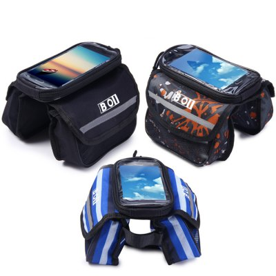 BOI Bicycle Front Tube Phone BagBike Bags<br>BOI Bicycle Front Tube Phone Bag<br><br>Brand Name: BOI<br>Model Number: BOI<br>Type: Bike Front Tube Phone Bag, Bicycle Bag<br>Material: Polyester, PVC<br>Functions: Anti-Pilling<br>Suitable for : Bike, Road Bike, Mountain Bicycle<br>Color: Blue, Multi-Color, Black<br>Size: M, L<br> Product weight : 0.160 kg<br>Package weight : 0.200 kg<br>Package size (L x W x H)  : 24 x 15 x 6 cm / 9.43 x 5.90 x 2.36 inches<br>Package Contents: 1 x BOI Bike Touch Screen 4.8 inch Front Tube Bag Phone Pocket Riding Cycling Supplies