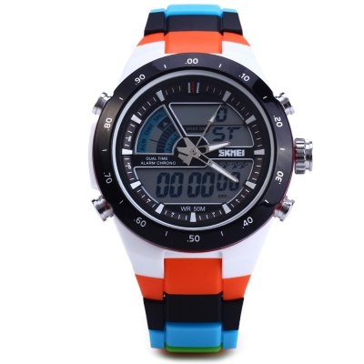Skmei 1016 Water Resistant LED Sport Watch Japan Double Movt Wristwatch - Jaragar - JaragarSports Watches<br>Skmei 1016 Water Resistant LED Sport Watch Japan Double Movt Wristwatch<br><br>Brand: Skmei<br>People: Unisex table<br>Watch style: LED, Outdoor Sports, Fashion&amp;Casual<br>Available color: Gold, Orange, Black, Green, Blue, Red, Black and White, White<br>Shape of the dial: Round<br>Movement type: Double-movtz<br>Display type: Analog-Digital<br>Case material: PC<br>Band material: Rubber<br>Clasp type: Folding clasp with safety<br>Special features: Alarm clock, Date, Day, Stopwatch<br>Water Resistance: 50 meters<br>The dial thickness: 1.2 cm / 0.47 inches<br>The dial diameter: 4.4 cm / 1.73 inches<br>Product weight: 0.070 kg<br>Package weight: 0.12 kg<br>Product size (L x W x H) : 22.4 x 4.4 x 1.2 cm / 8.80 x 1.73 x 0.47 inches<br>Package size (L x W x H): 23.4 x 5.4 x 2.2 cm / 9.20 x 2.12 x 0.86 inches<br>Package contents: 1 x Skmei 1016 Watch