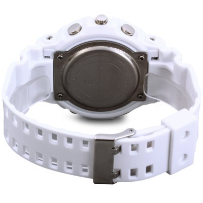 Skmei 0966 LED Sports WatchSports Watches<br>Skmei 0966 LED Sports Watch<br><br>Brand: Skmei<br>People: Unisex table<br>Watch style: Outdoor Sports, LED<br>Available color: White, Pink<br>Shape of the dial: Round<br>Movement type: Double-movtz<br>Display type: Analog-Digital<br>Band material: PU<br>Clasp type: Pin buckle<br>Special features: Luminous, Stopwatch, Week, Alarm clock, Date<br>Water resistance: 50 meters<br>Battery type: CR2016/SR626SW<br>The dial thickness: 1.5 cm / 0.59 inches<br>The dial diameter: 5.0 cm / 1.97 inches<br>The band width: 2.2 cm / 0.87 inches<br>Wearable length: 17 - 24 cm / 6.69 - 9.45 inches<br>Product weight: 0.058 kg<br>Package weight: 0.09 kg<br>Product size (L x W x H) : 26 x 5 x 1.5 cm / 10.22 x 1.97 x 0.59 inches<br>Package size (L x W x H): 27 x 6 x 2.5 cm / 10.61 x 2.36 x 0.98 inches<br>Package contents: 1 x Skmei 0966 5ATM Water Resistant Double Movtz LED Sports Watch with Rubber Band