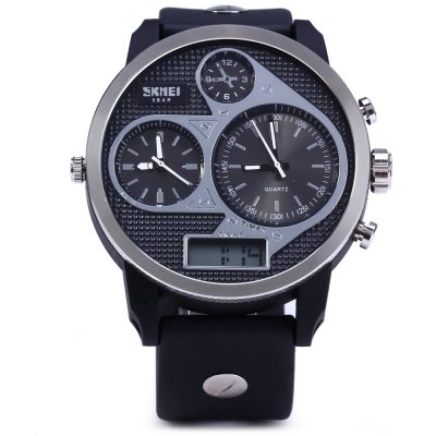 Skmei 1033 3-movtz Men WatchMens Watches<br>Skmei 1033 3-movtz Men Watch<br><br>Brand: Skmei<br>Watches categories: Male table<br>Watch style: Trends in outdoor sports<br>Available color: Yellow, White<br>Movement type: Quartz + digital watch<br>Shape of the dial: Round<br>Case material: Metal<br>Band material: PU<br>Clasp type: Pin buckle<br>Band color: Black<br>Special features: Decorating small one stitches, Moving small three stitches, Multi Time Zones, Luminous, Date<br>Water Resistance: 50 meters<br>The dial thickness: 1.3 cm / 0.51 inches<br>The dial diameter: 5.0 cm / 1.97 inches<br>The band width: 2.4 cm / 0.94 inches<br>Wearable Length:: 17 - 24 cm / 6.69 - 9.45 inches<br>Product weight: 0.072 kg<br>Package weight: 0.12 kg<br>Product size (L x W x H): 26.5 x 5.5 x 1.3 cm / 10.41 x 2.16 x 0.51 inches<br>Package size (L x W x H): 28 x 6.5 x 2.3 cm / 11.00 x 2.55 x 0.90 inches<br>Package Contents: 1 x Skmei 1033 Men Sports 3-movtz Watch Pointer Digital Indicate 5ATM Water Resistance