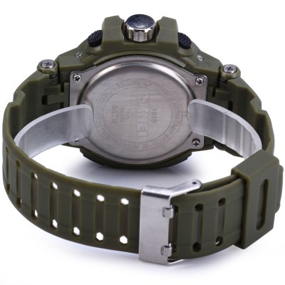 Skmei 1040 Dual Movement LED WatchSports Watches<br>Skmei 1040 Dual Movement LED Watch<br><br>Brand: Skmei<br>People: Unisex table<br>Watch style: Fashion&amp;Casual, Military, Outdoor Sports, LED<br>Available color: Gold, Gray, Red<br>Shape of the dial: Round<br>Movement type: Double-movtz<br>Display type: Analog-Digital<br>Case material: PC<br>Band material: PU<br>Clasp type: Pin buckle<br>Special features: Stopwatch, Week, Alarm clock, Luminous<br>Water Resistance: 50 meters<br>Quakeproof: Yes<br>The dial thickness: 1.5 cm / 0.6 inches<br>The dial diameter: 4.5 cm / 1.8 inches<br>The band width: 2.2 cm / 0.9 inches<br>Wearable Length:: 16 - 22.5 cm / 6.3 - 8.86 inches<br>Product weight: 0.053 kg<br>Package weight: 0.09 kg<br>Product size (L x W x H) : 25 x 5 x 1.5 cm / 9.83 x 1.97 x 0.59 inches<br>Package size (L x W x H): 26 x 6 x 2.5 cm / 10.22 x 2.36 x 0.98 inches<br>Package contents: 1 x Skmei 1040 LED Sports Watch