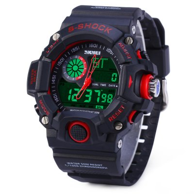 Skmei 1029 Double Movement LED WatchSports Watches<br>Skmei 1029 Double Movement LED Watch<br><br>Brand: Skmei<br>People: Unisex table<br>Watch style: Outdoor Sports,LED,Military<br>Available color: Red,Blue,Green<br>Shape of the dial: Round<br>Movement type: Double-movtz<br>Display type: Analog-Digital<br>Case material: PC<br>Band material: Rubber<br>Clasp type: Pin buckle<br>Special features: Alarm Clock,Date,Week,Stopwatch,Luminous<br>Water resistance : 50 meters<br>Quakeproof: Yes<br>The dial thickness: 1.8 cm / 0.7 inches<br>The dial diameter: 5.0 cm / 2.0 inches<br>The band width: 2.2 cm / 0.9 inches<br>Wearable length: 17 - 23.8 cm / 6.69 - 9.37 inches<br>Product weight: 0.064 kg<br>Package weight: 0.1 kg<br>Product size (L x W x H): 25.5 x 5.7 x 1.8 cm / 10.02 x 2.24 x 0.71 inches<br>Package size (L x W x H): 27 x 7 x 3 cm / 10.61 x 2.75 x 1.18 inches<br>Package Contents: 1 x Skmei 1029 Analog Digital 50M Water Resistant LED Sports Watch with Alarm Date Week
