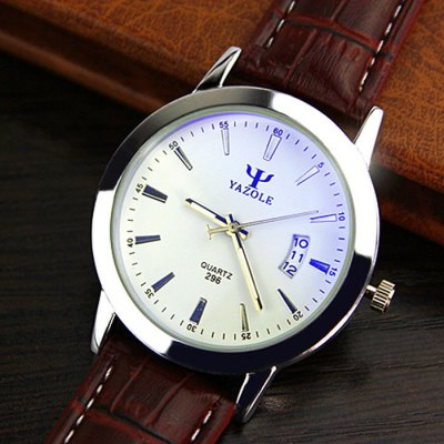 Yazole 296 Male Dual Scales Quartz Watch with Leather Band Date Display