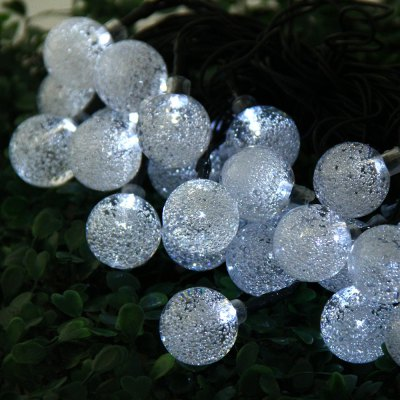 6m 30 LED Solar String Light - Bubble ShapeChristmas Supplies<br>6m 30 LED Solar String Light - Bubble Shape<br><br>Type: Solar LED String Light<br>Material: Electronic Components, PVC, Plastic<br>Features: Supplied by solar energy<br>Usage: Stage, New Year, Christmas, Party, Performance<br>Color: Blue, Red, White, Multi-Color<br>Product weight: 0.290 kg<br>Package weight : 0.470 kg<br>Package size (L x W x H): 17 x 9 x 10 cm / 6.68 x 3.54 x 3.93 inches<br>Package Contents: 1 x Christmas Props 6m 30 LEDs Solar String Light Bubble Style Lamp Decors Xmas Tree Decoration, 1 x Ground Plug