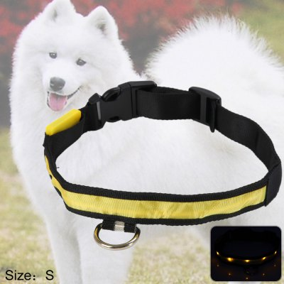 LED Nylon Light Point Pet Collar Yellow Light
