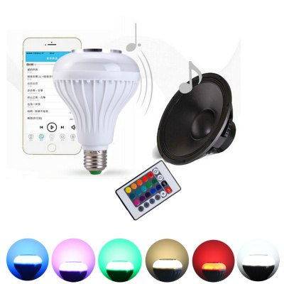 RC LED Bulb Light Bluetooth 3.0 SpeakerSmart Lighting<br>RC LED Bulb Light Bluetooth 3.0 Speaker<br><br>Holder: E27<br>Type: Ball Bulbs<br>Output Power: 12W<br>Emitter Type: LED<br>Total Emitters: 1<br>Voltage (V): AC 100-240<br>Angle: 160 degrees<br>Lifespan: 50000 hours<br>Features: Remote-Controlled<br>Function: Home Lighting<br>Available Light Color: Colorful,Warm White,White<br>Product weight: 0.202 kg<br>Package weight: 0.300 kg<br>Package size (L x W x H): 11.00 x 11.00 x 15.00 cm / 4.33 x 4.33 x 5.91 inches<br>Package Contents: 1 x Intelligent E27 Light Bulb Colorful LED Lamp Bluetooth 3.0 Speaker for Home Stage, 1 x Remote Control, 1 x Bilingual User Manual in English