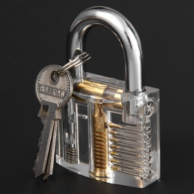Transparent Skill Training Padlock SetLock Picks and Tools<br>Transparent Skill Training Padlock Set<br><br>Materials: Aluminum Alloy<br>Package Contents: 1 x Skill Training Padlock, 2 x Key, 12 x Lock Pick, 3 x Needle, 1 x Leather Case<br>Package size (L x W x H): 18.40 x 12.20 x 3.40 cm / 7.24 x 4.8 x 1.34 inches<br>Package weight: 0.317 kg<br>Packing Type: Kits<br>Product size (L x W x H): 8.00 x 5.10 x 2.40 cm / 3.15 x 2.01 x 0.94 inches<br>Product weight: 0.129 kg<br>Special function: studying how the lock works