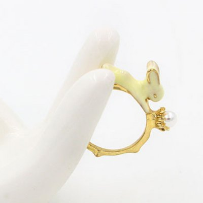 Faux Pearl Bunny Shape Ring