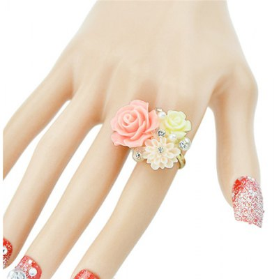 Stylish Cute Rhinestone Decorated  Resin Flower Shape Ring For Women