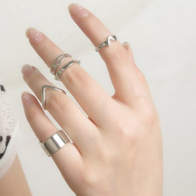 5PCS Vintage V Shape Rivet Layered Rings
