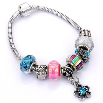 Trendy Flower Elephant Heart Butterfly Bead Bracelet For Women