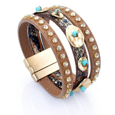 Ethnic Style Rhinestone Bead Faux Leather Bracelet For Women
