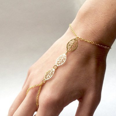 Delicate Solid Color Hollow Out Leaf Bracelet For Women