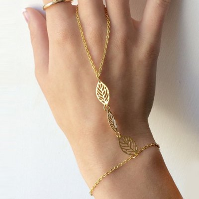 Hollow Out Leaf Alloy Bracelet with Ring