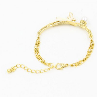 Cute Faux Pearl Bunny Bracelet For Women