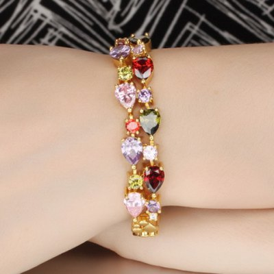 Chic Colored Rhinestoned Layered Bracelet