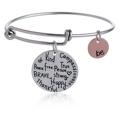 Simple Chic Round Letter Carved Bracelet For Women