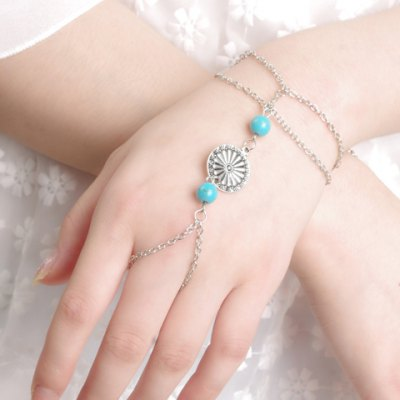Vintage Turquoise Flower Double-Layered Bracelet For Women