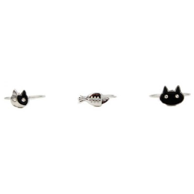 3PCS Cute Kitten and Fish Design Rings For Women