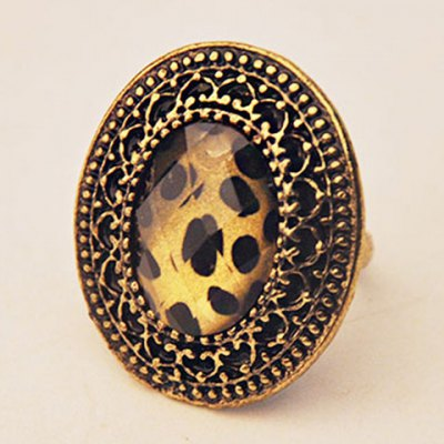 Retro Classic Leopard Pattern Ellipse Ring For Women
