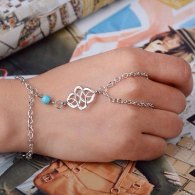 Bohemian Turquoise Bead Bracelet with Ring