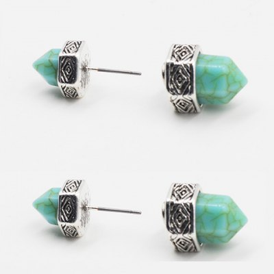 Pair of Vintage Turquoise Hexagonal Prism Shape Earrings For Women