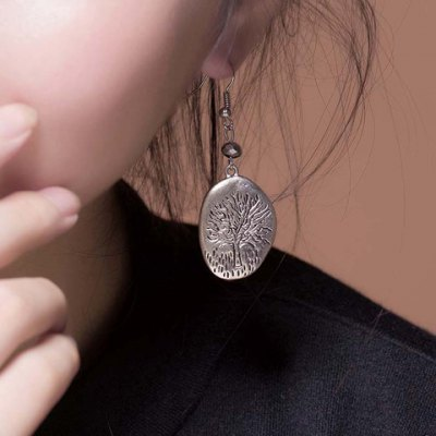 Vintage Tree Engraved Round Solid Color Earrings