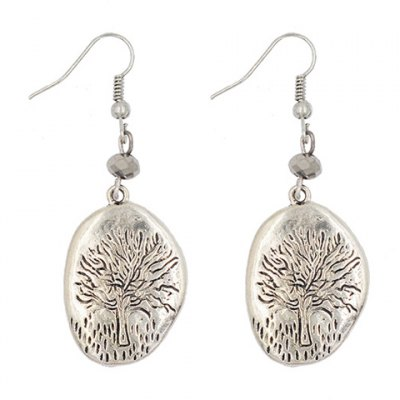 Pair of Vintage Tree Engraved Round Solid Color Earrings For Women