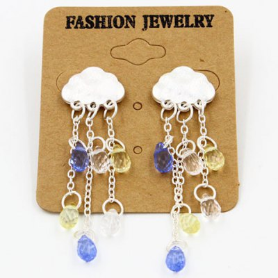 Stylish Faux Crystal Cloud Waterdrop Tassels Earrings
