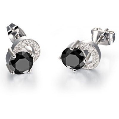 Pair of Stylish Zircon Inlaid Stud Earrings For Women