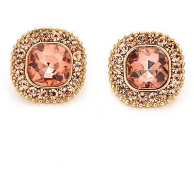 Pair of Stylish Rhinestoned Round Earrings For Women