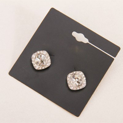 Pair of Delicate Rhinestone Square Women