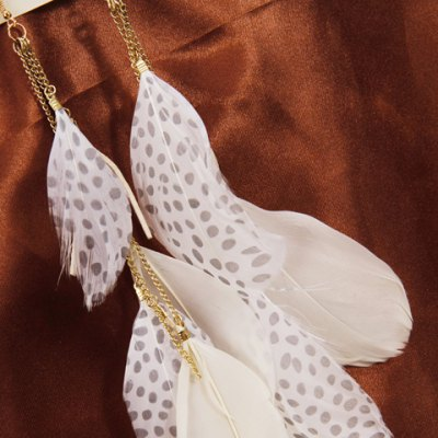 Pair of Stylish Tassels Feather Earrings For Women