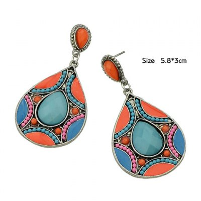 Pair of Ethnic Faux Gemstone Decorated Water Drop Earrings For WomenEarrings<br>Pair of Ethnic Faux Gemstone Decorated Water Drop Earrings For Women<br><br>Earring Type: Drop Earrings<br>Gender: For Women<br>Material: Semi-Precious Stone<br>Style: Trendy<br>Shape/Pattern: Water Drop<br>Length: 5.8CM<br>Weight: 0.05KG<br>Package Contents: 1 x Earring(Pair)