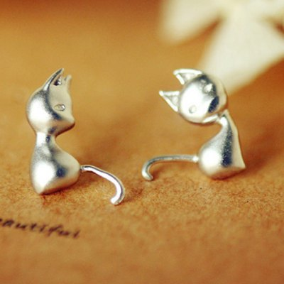 Pair of Cute Cat Stud Earrings For Women