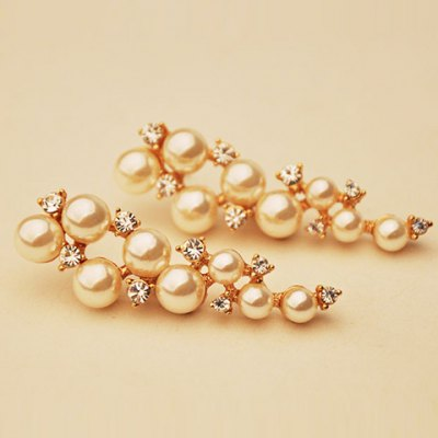 Pair of Gorgeous Faux Pearl Rhinestone Earrings For Women