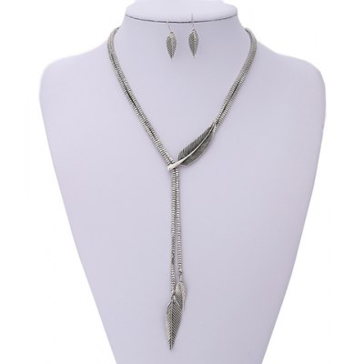 Leaf Shape Necklace and Earrings