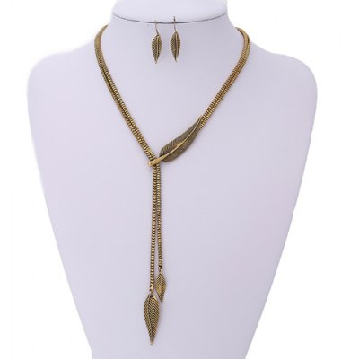 Fashionable Chic Leaf Shape Necklace and A Pair of Earrings For Women