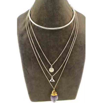 Chic Faux Crystal Layered Triangle Love Necklace For WomenNecklaces &amp; Pendants<br>Chic Faux Crystal Layered Triangle Love Necklace For Women<br><br>Item Type: Pendant Necklace<br>Gender: For Women<br>Material: Crystal<br>Style: Trendy<br>Shape/Pattern: Geometric<br>Length: 49CM/42CM/39CM<br>Weight: 0.110KG<br>Package Contents: 1 x Necklace