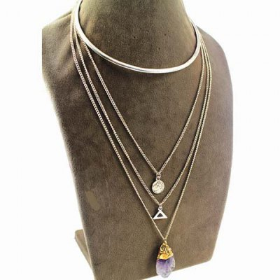 Chic Faux Crystal Layered Triangle Love Necklace For Women