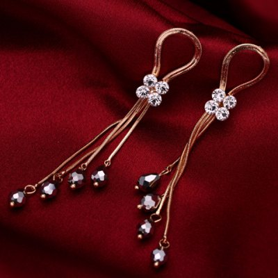 Pair of Trendy Rhinestone Tassel Beads Earrings For WomenEarrings<br>Pair of Trendy Rhinestone Tassel Beads Earrings For Women<br><br>Earring Type: Drop Earrings<br>Gender: For Women<br>Material: Rhinestone<br>Style: Trendy<br>Shape/Pattern: Others<br>Length: 9.5CM<br>Weight: 0.050KG<br>Package Contents: 1 x Earring(Pair)