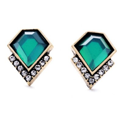 Pair of Stylish Faux Emerald Earrings For Women