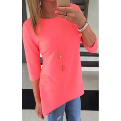 Stylish Round Collar 3/4 Sleeve Pure Color Asymmetrical Womens T-ShirtWomens T-Shirts<br>Stylish Round Collar 3/4 Sleeve Pure Color Asymmetrical Womens T-Shirt<br><br>Material: Polyester,Cotton Blends<br>Clothing Length: Long<br>Sleeve Length: Three Quarter<br>Collar: Round Neck<br>Style: Fashion<br>Pattern Type: Solid<br>Weight: 0.150KG<br>Package Contents: 1 x T-Shirt